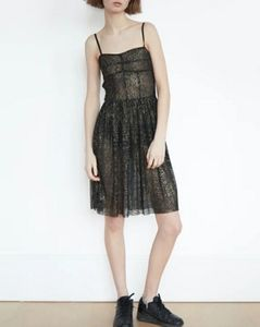 BUSTIER LACE SHEER FIT AND FLARE DRESS